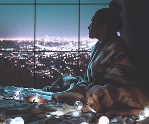 light, girl, and city image