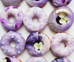 food, purple, and donuts image