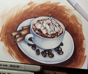 art, coffee, and cream image