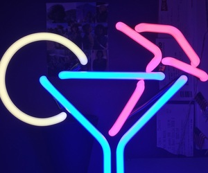 alcohol, martini, and neon image