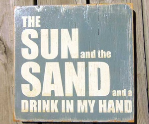 beach, drink, and sand image