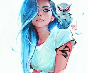 girl, owl, and art image