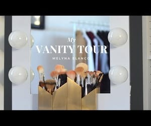 video, vanity mirror, and makeup storage image
