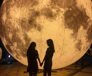 girls, moon, and love image