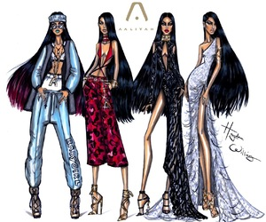 fashion, aaliyah, and illustration image