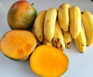 fruit, mango, and banana image