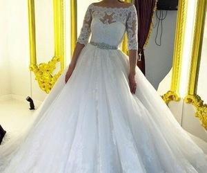 tulle skirt wedding dress, princess wedding inspired, and boat neck bridal dress image