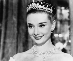 audrey hepburn, princess, and black and white image