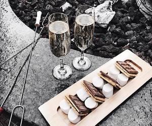 food, champagne, and chocolate image