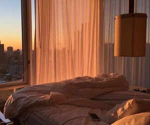 sunset, bed, and room image