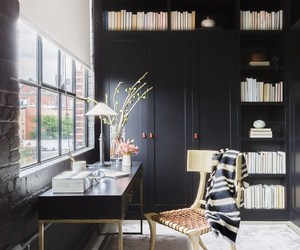bookshelves, home office, and home tour image