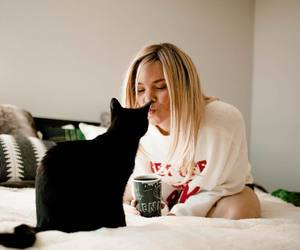 black cat, blonde, and love image