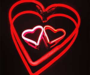 hearts, neon, and red image