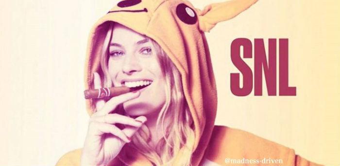 cigar, snl, and margot robbie image