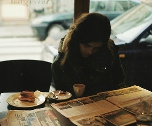 girl, coffee, and vintage image