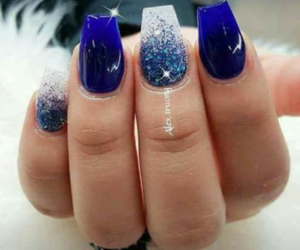 blue nails, nails, and white image
