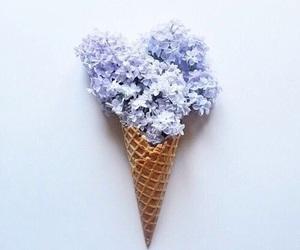 flowers, ice cream, and purple image