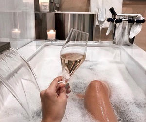 bath, bathroom, and champagne image
