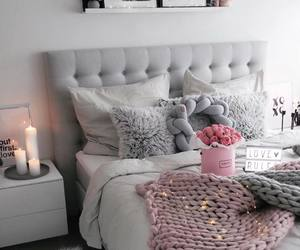 bed, candles, and decor image