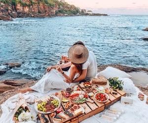 couple, sea, and food image
