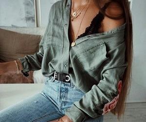 bracelets, bralette, and jeans image