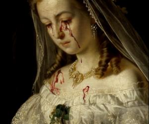 art, sad, and blood image
