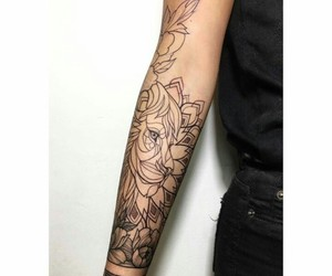 art, lion, and tattoo image
