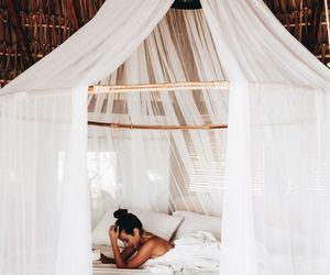 bed, girl, and travel image