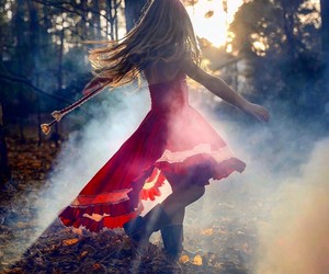 dancing, fall, and forest image