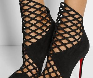louboutins, red bottom heels, and caged booties image