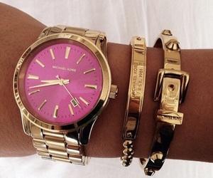 bracelet, fashion, and gold watch image