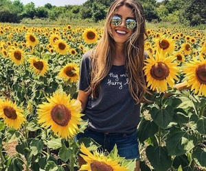flowers, girls, and sunflowers image