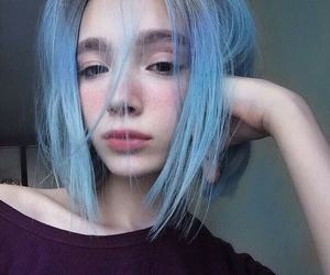 girl, blue, and hair image