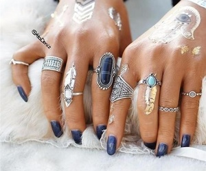 nail polish, rings, and nails image