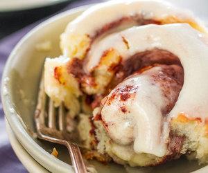 bread, cinnamon roll, and sweet image