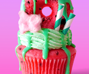 cupcake, donuts, and watermelon image
