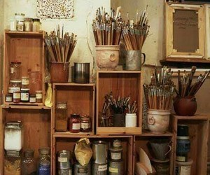 art, Brushes, and studio image