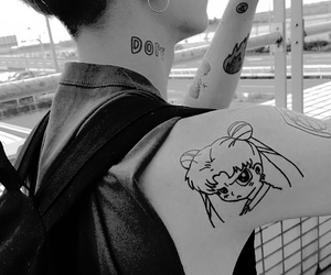 aesthetic, black and white, and sailor moon image
