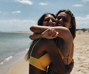 beach, best friends, and bikini image