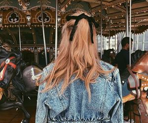 hair, carousel, and girl image