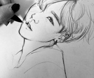 drawing, bts, and suga image