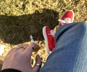 cigarette, high tops, and red vans image