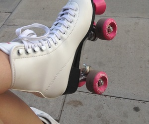 pink, skate, and white image