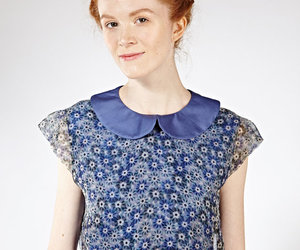 etsy, blue silk top, and peter pan collar top image