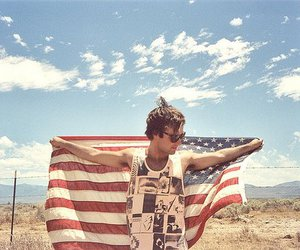 boy, usa, and flag image