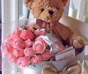 flowers, teddy, and love image