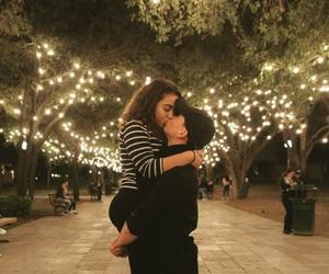 couple, lights, and hug image