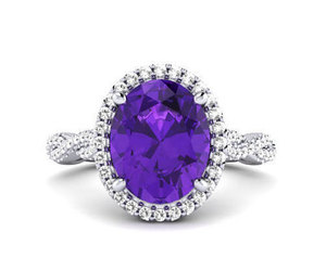 promise ring, amethyst ring, and wedding ring set image