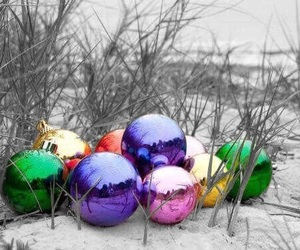 balls, ornaments, and beach image