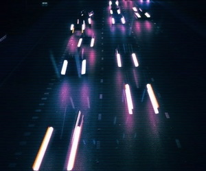cars, dark, and lights image